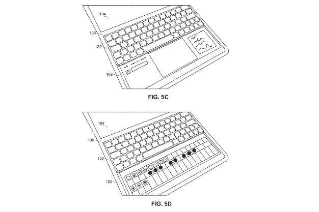 DUAL SCREEN ELECTRONIC DEVICES WITH STOWABLE KEYBOARDS